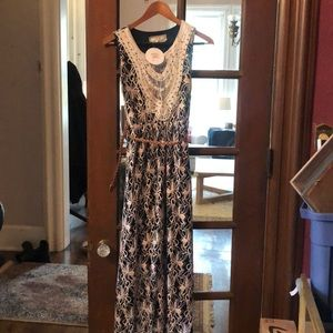 NWT- Maxi Lace and Crochet Dress